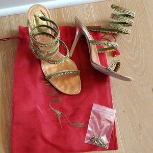 Rene Caovilla Green/Golden Evening Heels